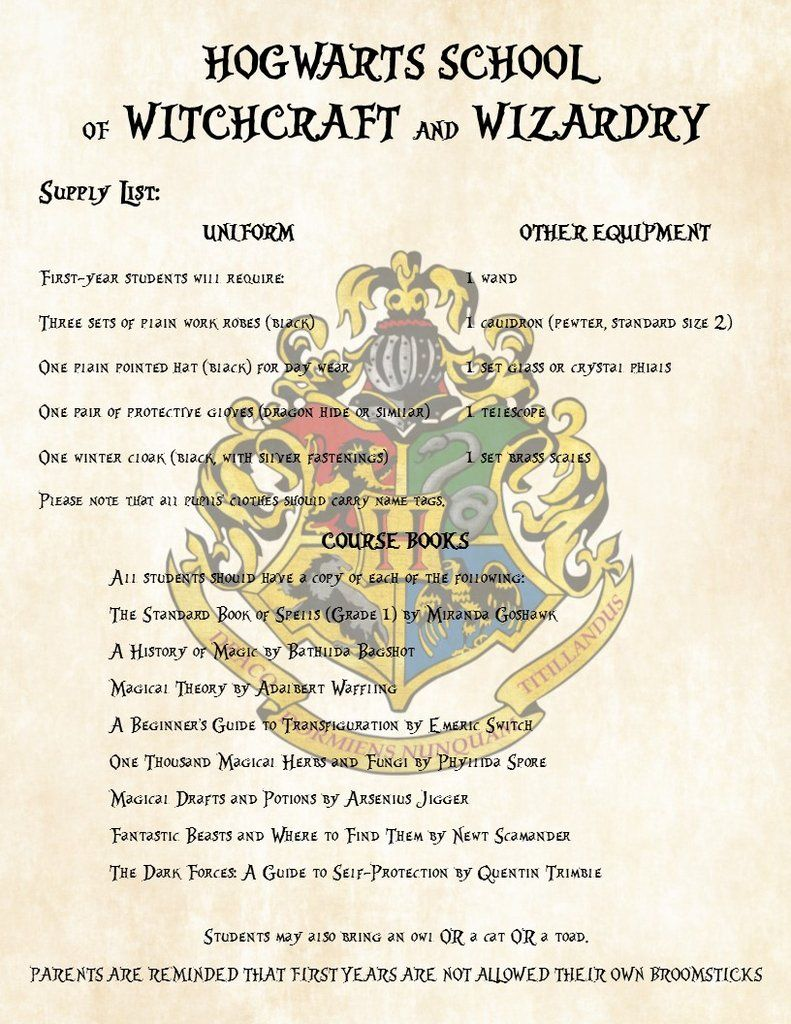 Harry Potter First Year Supply List for Hogwarts School of
