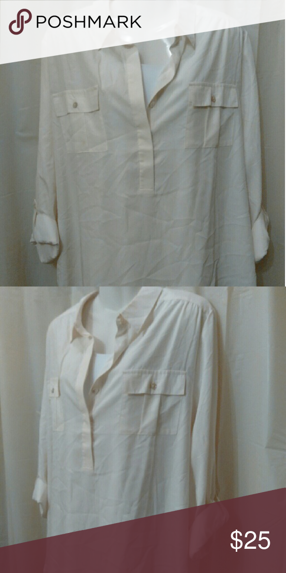 Chico's cream blouse Cream long sleeve mid button blouse with 2 front pocket real size is 3 Chico's Tops Blouses