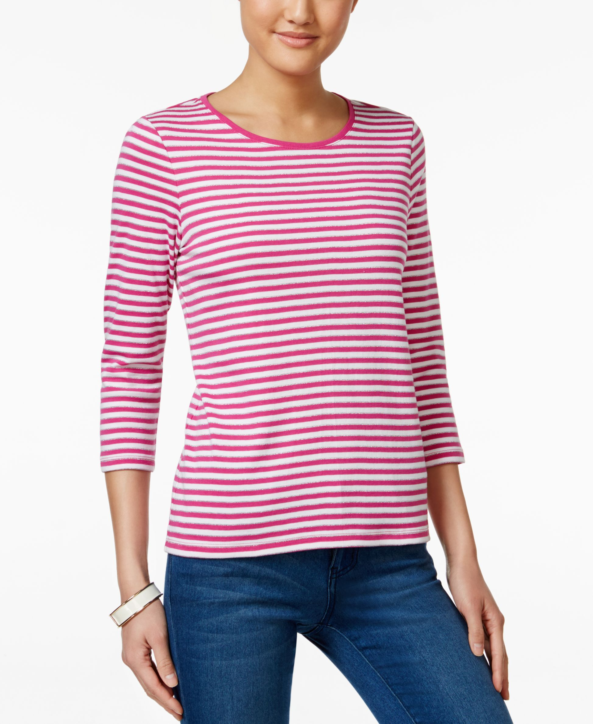 Charter Club Petite Metallic Striped Top, Only at Macy's
