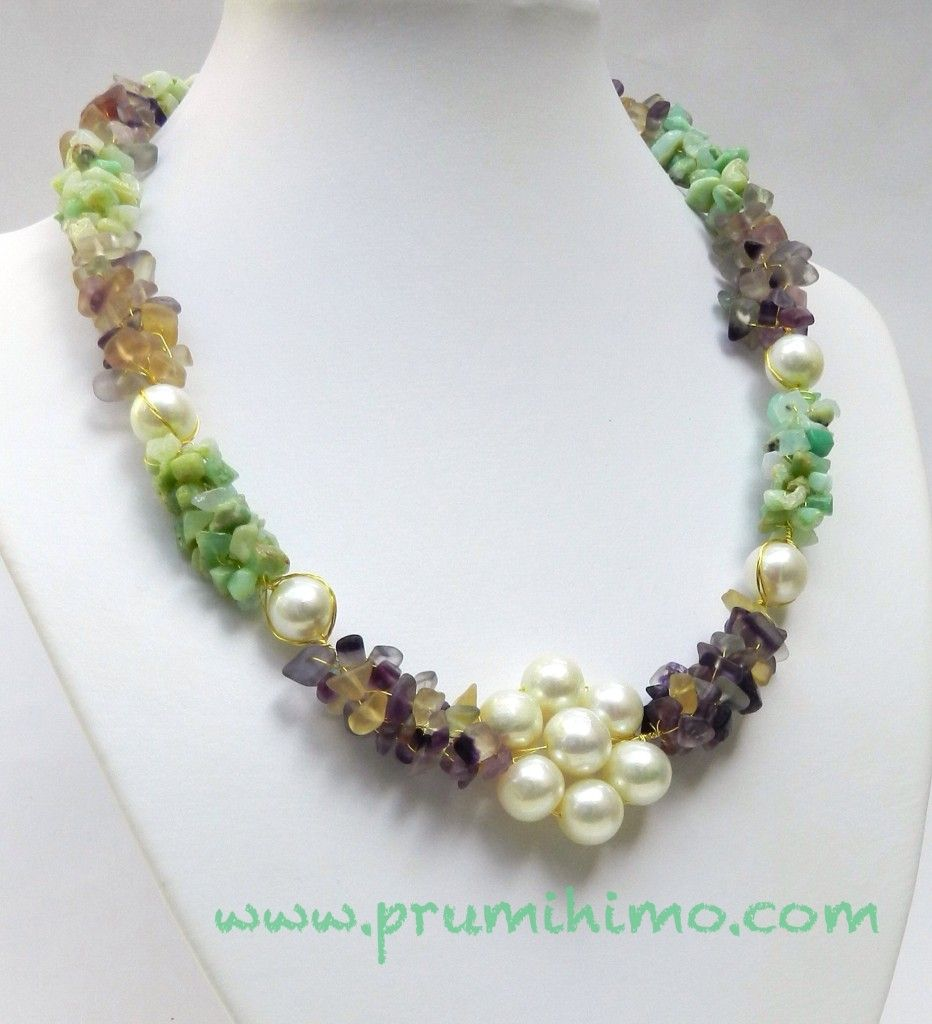 Elegance Wire Kumihimo With Gemstone Chips And Pearls Kumihimo