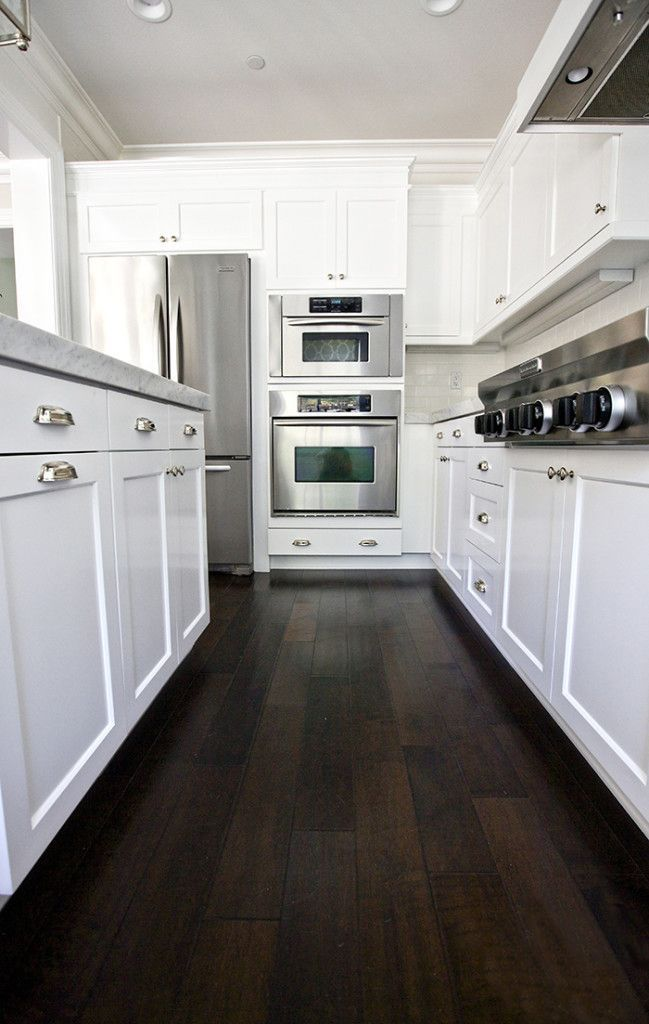 White Kitchen With Dark Hardwood Floors Love The Color Contrast Wood Floor Kitchen Dark Wood Kitchens Hardwood Floors Dark