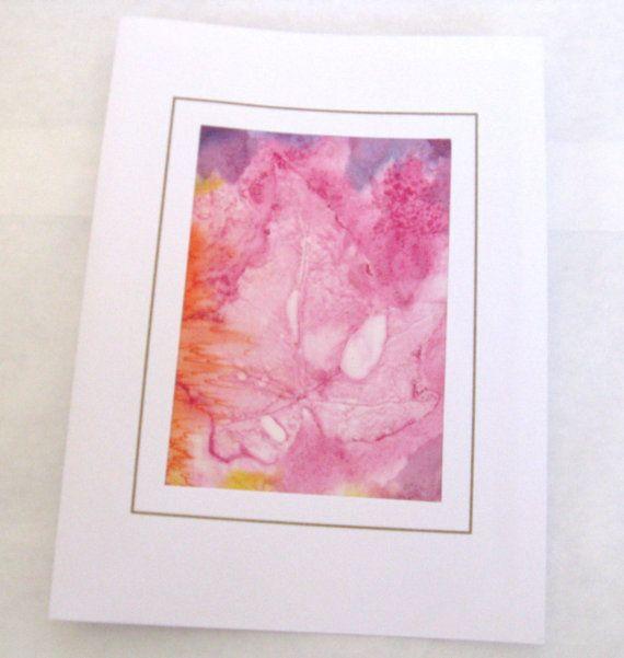 Hand painted pink and orange leaf silk card by SilkDesignByJane, $7.00