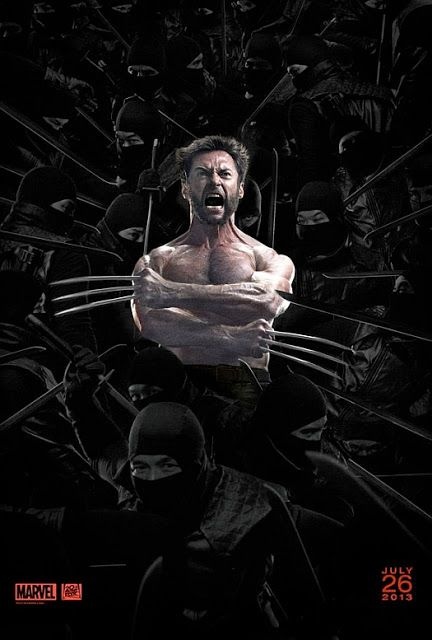 The Wolverine Hugh Jackman Screaming With A Bunch Of Ninjas Wolverine Movie Wolverine Poster Wolverine