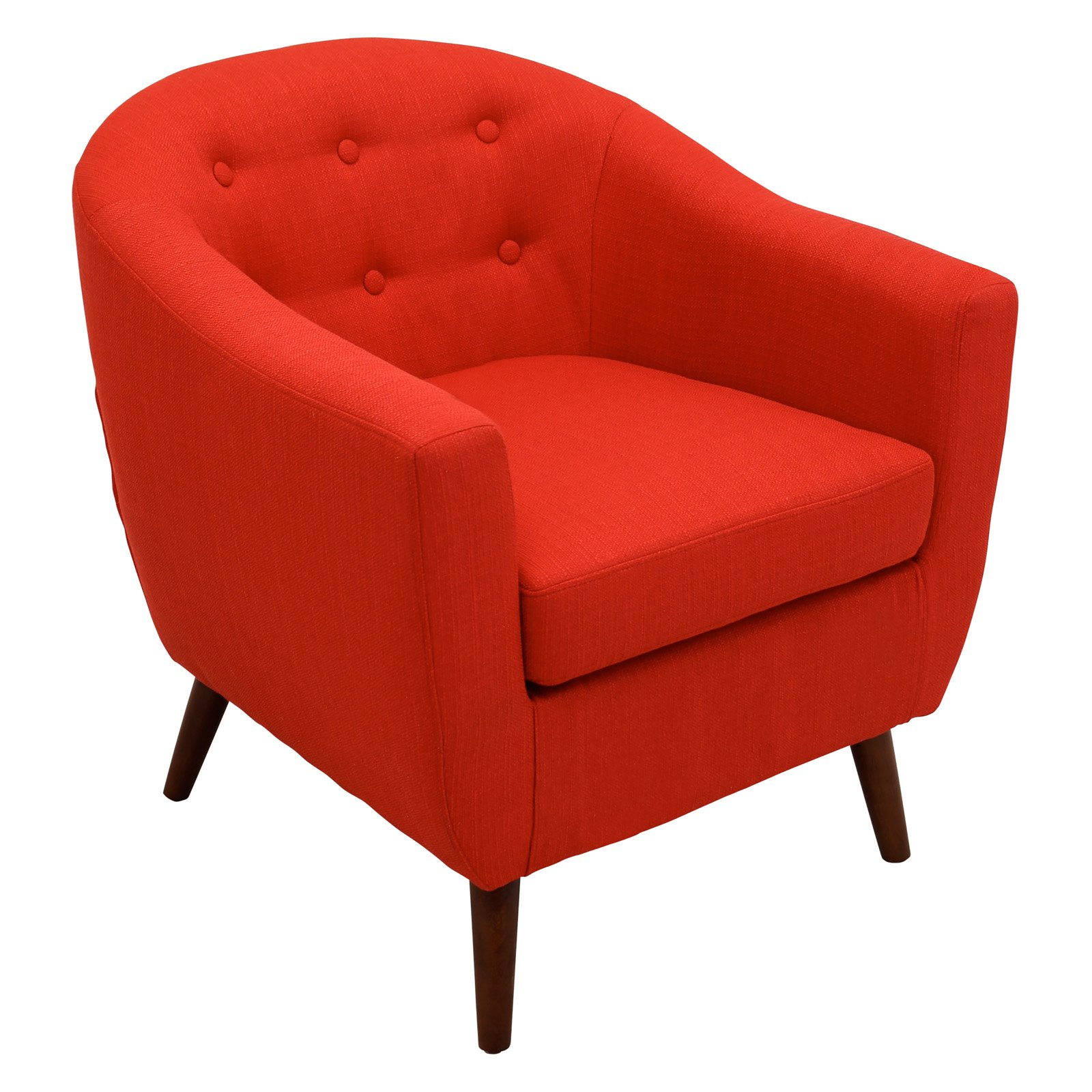 Lumisource Rockwell Mid Century Modern Accent Chair Red Accent