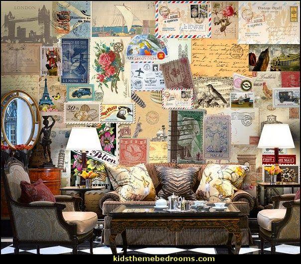 Postcard Wallpaper Mural Travel Theme W Travel Themed Bedroom Travel Wall Decor Travel Themed Room