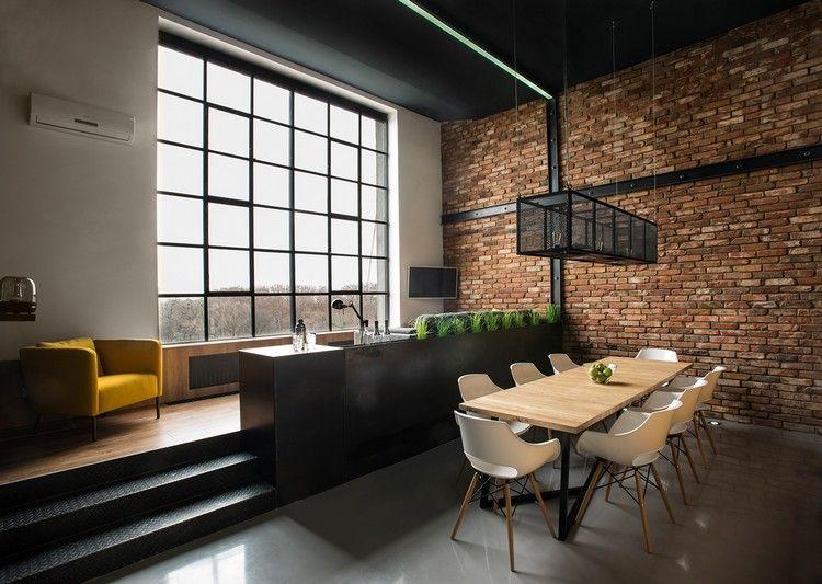 Moderne wandgestaltung loftwohnung backsteinwand akzent firma