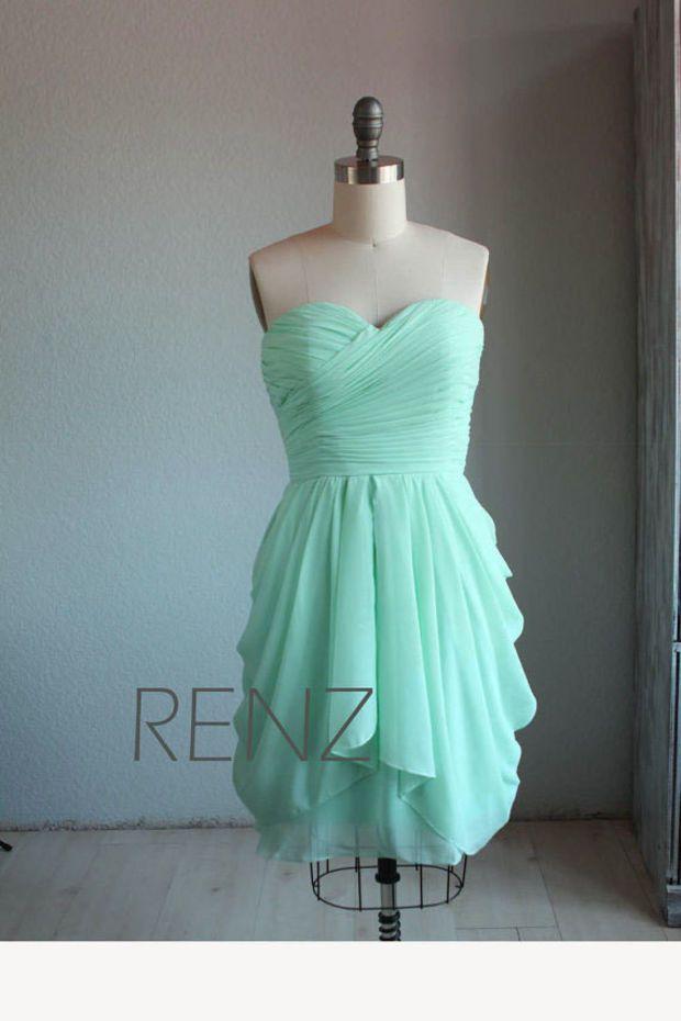 MINT Wedding dress , chiffon party dress, mint blue bridesmaid dress ...