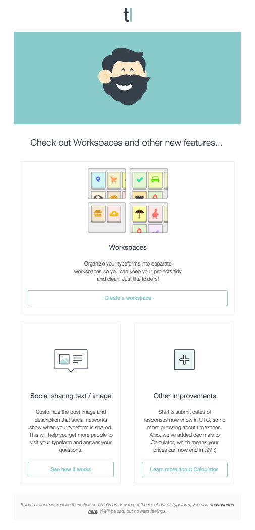 New features announcement email from @typeform