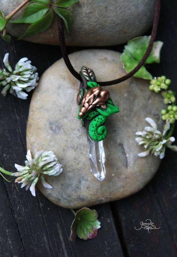 Forest Dragon Pendant Rock Quartz crystal necklace fantasy