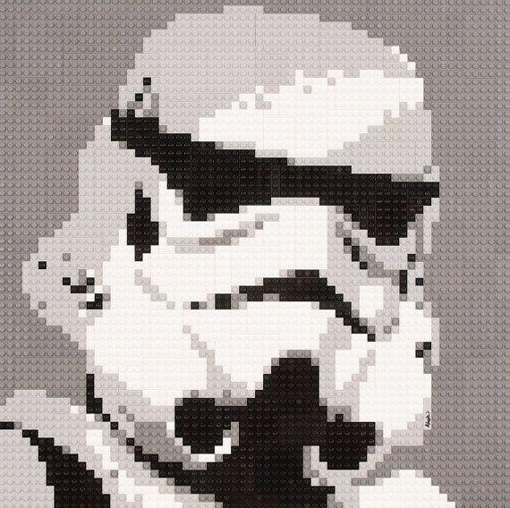 Mosaic Star Wars Storm Trooper using Lego® bricks   Mesas de cocina ...