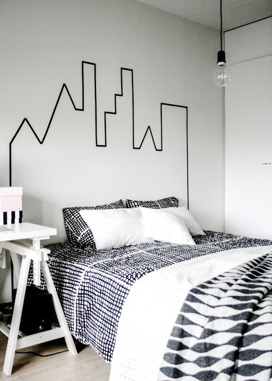 colored tape headboard. Like this idea for a temporary living space (cheap, easy)