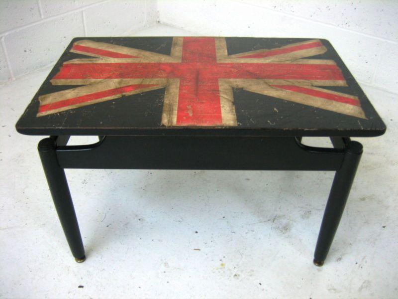 VINTAGE RETRO UNION JACK G PLAN DECOUPAGE DANISH STYLE COFFEE TABLE 50s 60s  | EBay