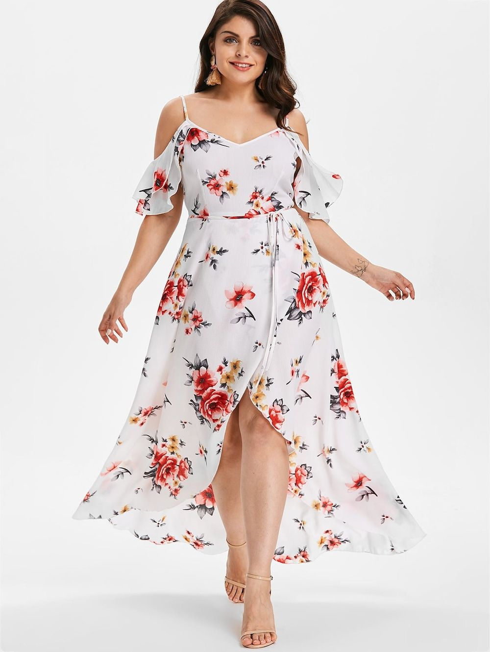 9ae33256b6 Plus Size Cold Shoulder Floral Maxi Flowing Dress | Clothing in 2019 ...