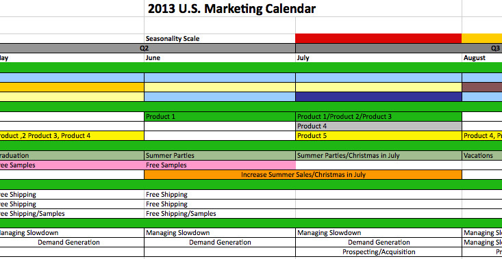Example Of Marketing Calender  Marketing