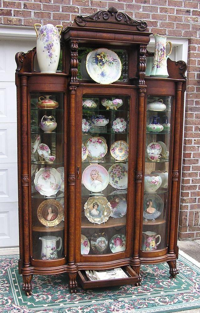 Rare Victorian Oak Corner China Cabinet Victorian