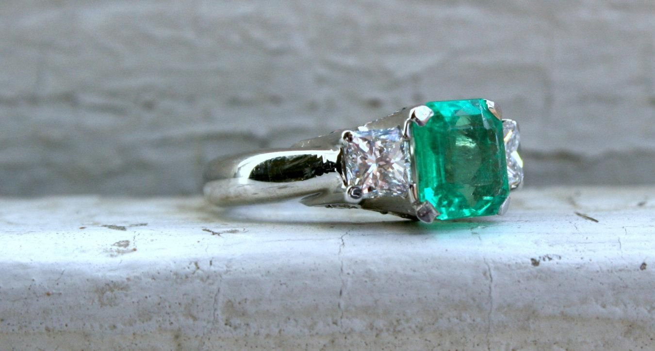 Gorgeous Vintage Platinum Diamond and Emerald Engagement Ring - 3.61ct. - http://emerald-engagementring.com/gorgeous-vintage-platinum-diamond-and-emerald-engagement-ring-3-61ct/