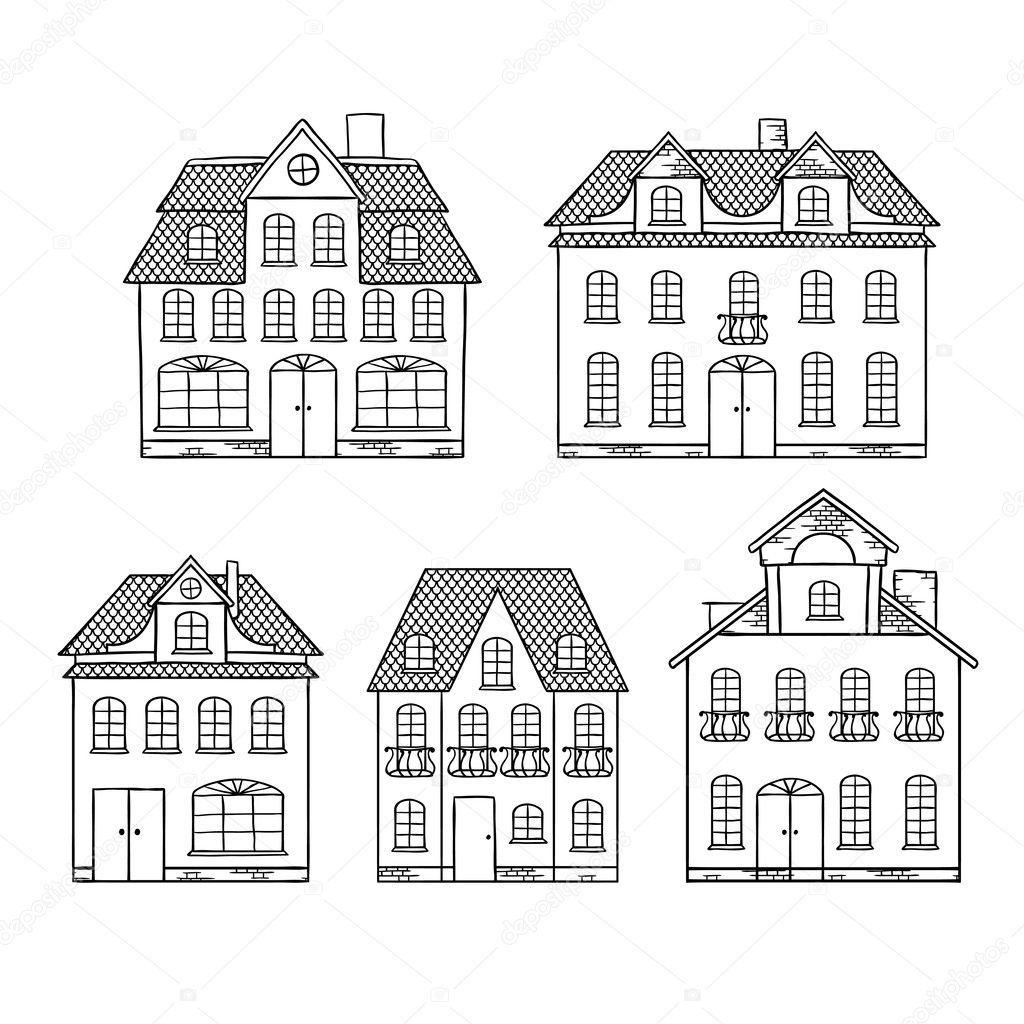Oude Rot Tekening Huizen Geisoleerd Vectorillustratie Huis Illustratie Handen Tekenen Eenvoudige Tekeningen