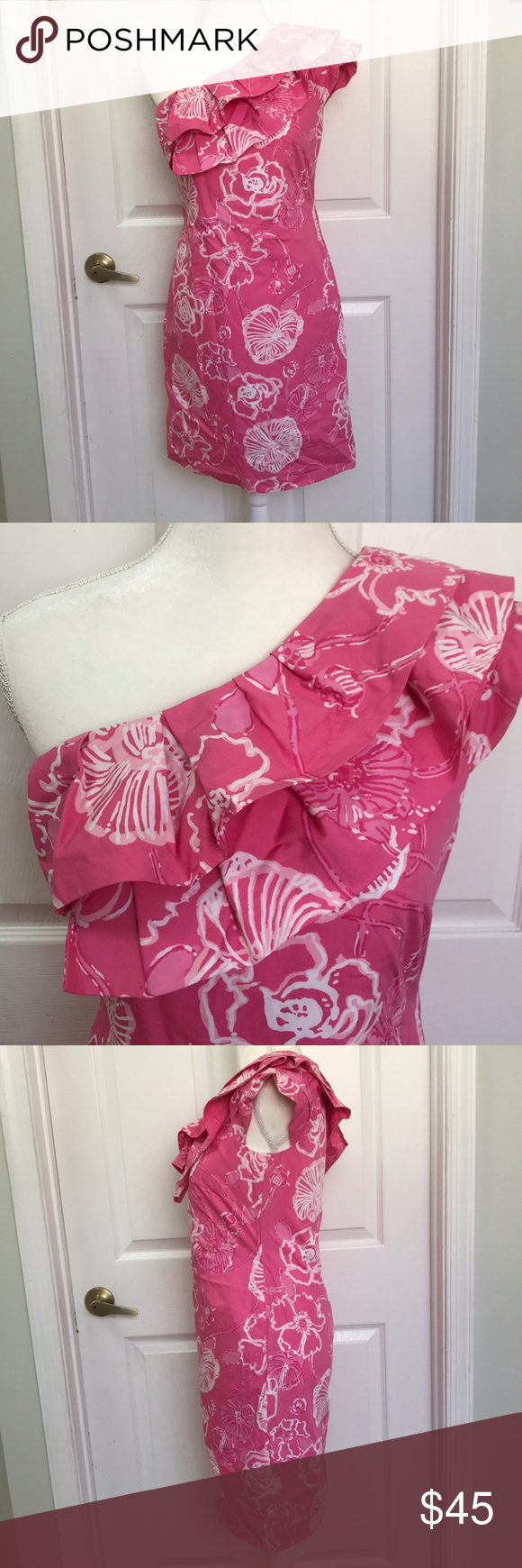 73a9d00b66d Lilly Pulitzer one shoulder floral dress size 2 Glamorous and classic Lilly  Pulitzer one shoulder dress size 2 in very good condition.
