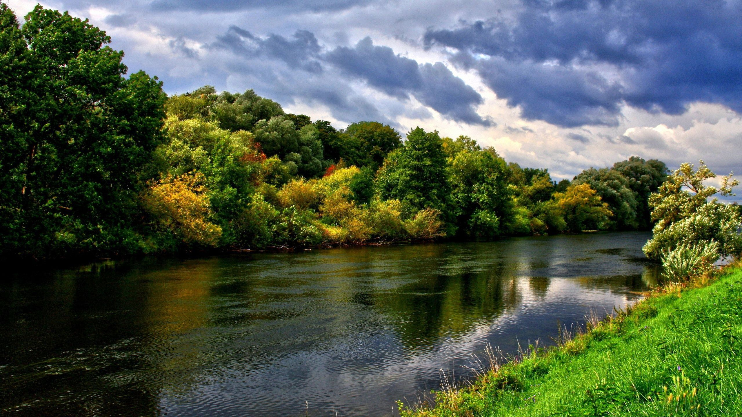 Flowing Forest River Hd Wallpaper Landscape Sunset Wallpaper Iphone 5s Wallpaper