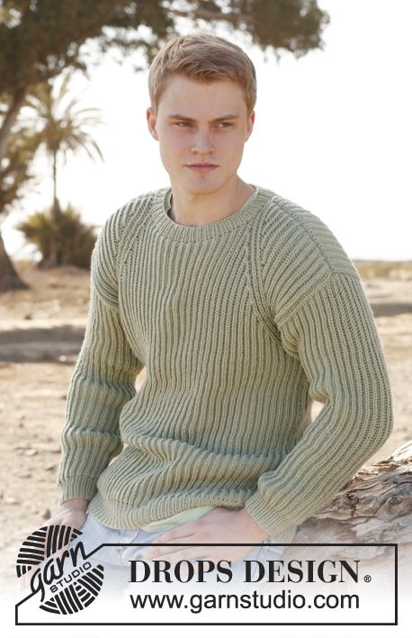 Mens Jumper Knitting Pattern : Free pattern: Knitted DROPS mens jumper in English rib in