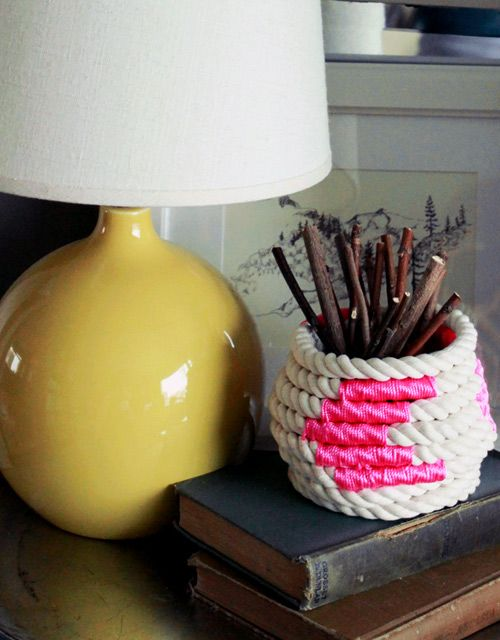 DIY Color-Block Coiled Rope Basket by Kate Pruitt for Design*Sponge