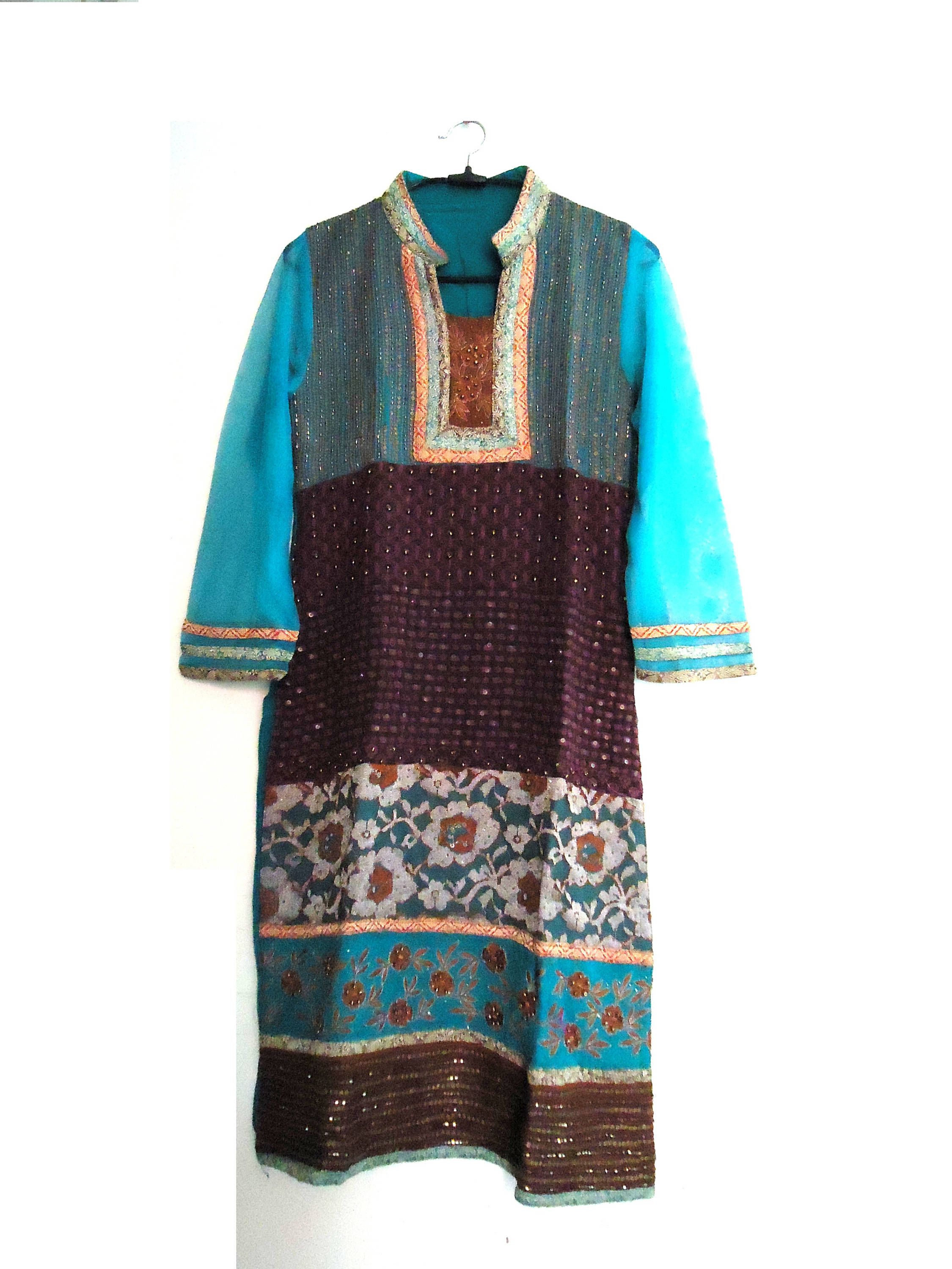 Vintage embroidered woven georgette kurti indian ethnic dress