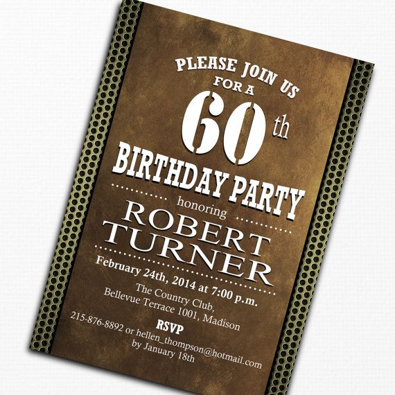 60th Men Birthday Invitation 70th 80th By TheStarDustFactory