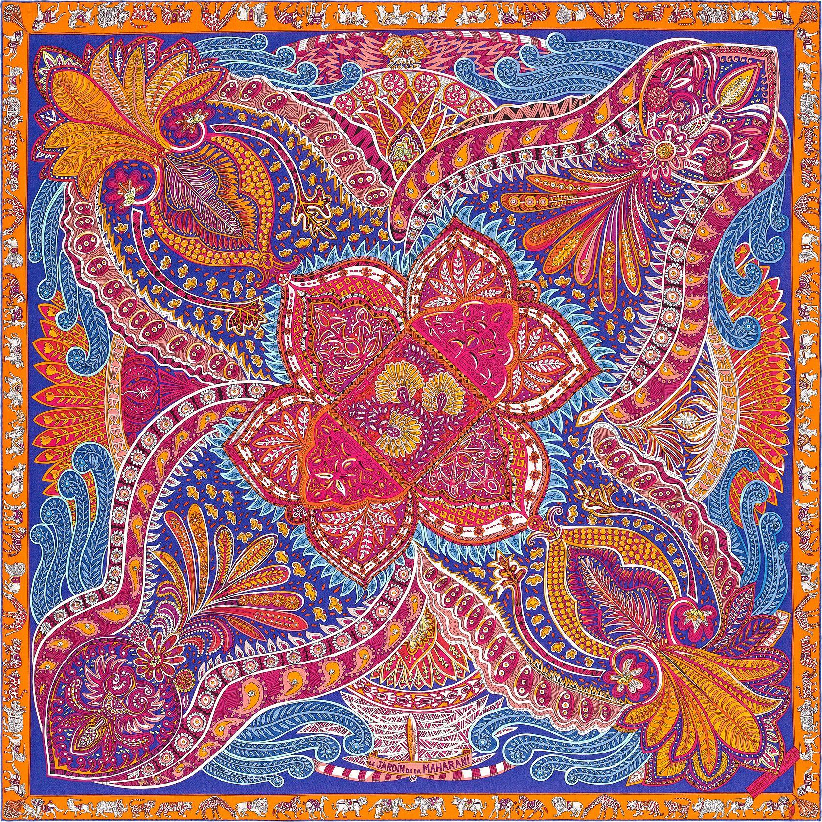 Le Jardin de la Maharani   Réf.   H243070S 12 iris orange fuchsia   €925    Châle 70 % cachemire 30 % soie (140 x 140 cm) b8faa18d93c