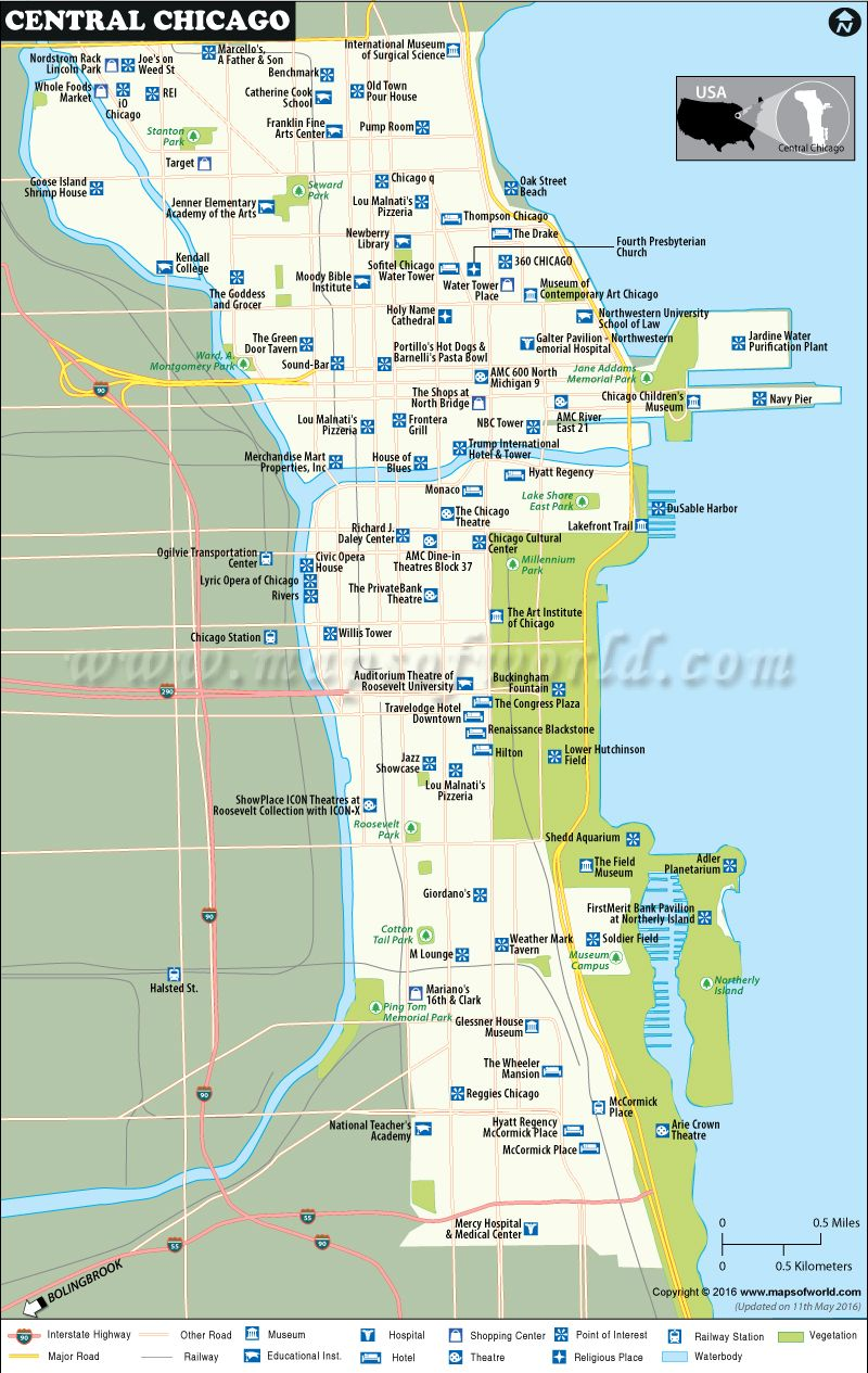 Chicago On The Map Of Usa.Can You Find Any 3 Major Hotels From Central Chicago City Map Find