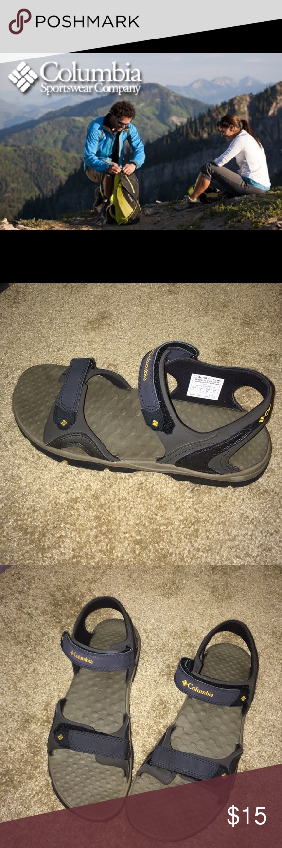 Columbia sandals Men's size 9 in the color Mud Columbia Riptide sandals with adjustable Velcro closure. excellent condition, soles show very little wear.   Features & Details Synthetic and spandex/neoprene upper is light but durable, Velcro® closures Fully lined in spandex/neoprene, with a textured and comfortable cushioned footbed that keeps feet dry and cool Flexible but durable all-terrain outsole Columbia Shoes Sandals & Flip-Flops