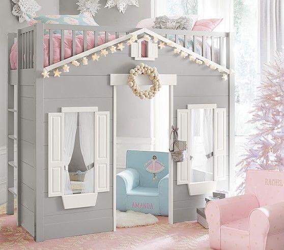 Playhouse Loft Bed Kinderhochbett Betten Fur Kinder