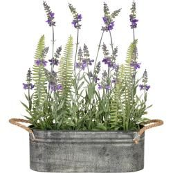 Photo of Artificial lavender 19 branches H. 40cm in zinc box 28x10x10cm Gasper Gasper