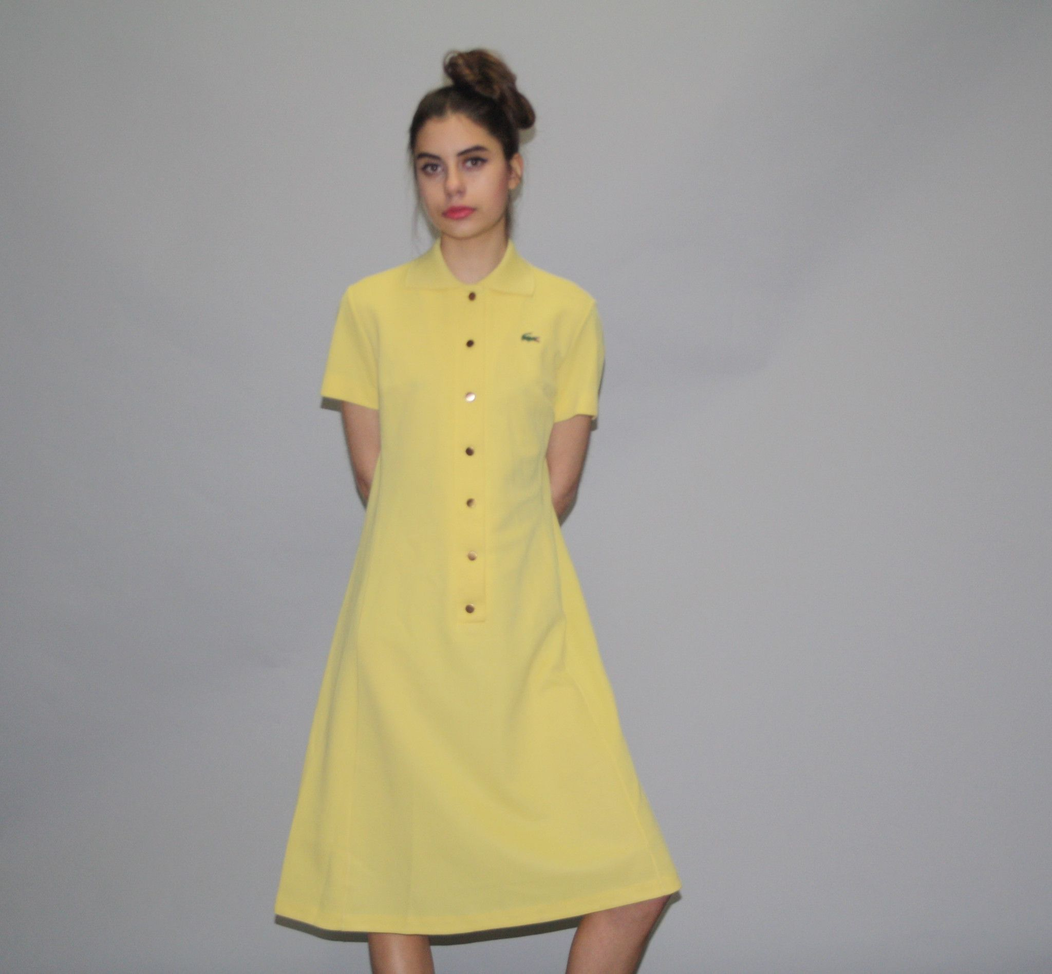 824cf429 1960s Vintage Lacoste Izod Yellow Tennis Shirt Dress - Vintage Lacoste Dress