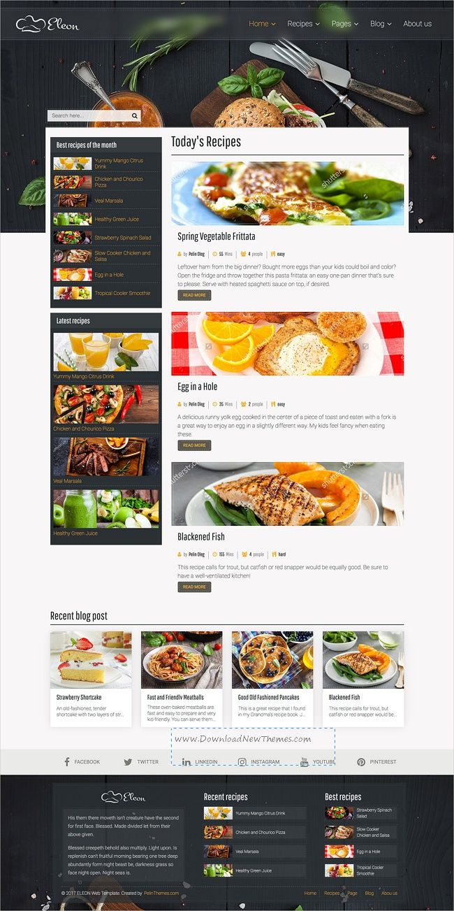 Eleon food recipes html template template magazine website and eleon food recipes html template forumfinder Choice Image
