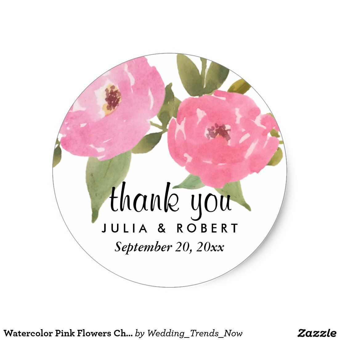 Watercolor pink flowers chic wedding thank you classic round sticker