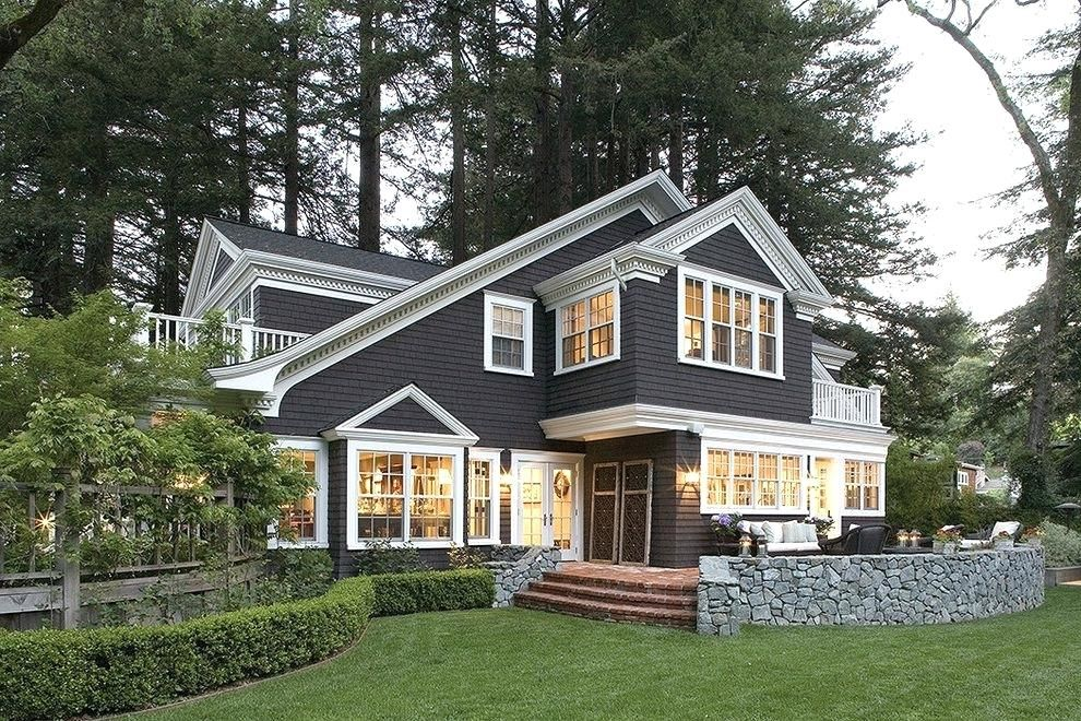 Dark Grey House With White Trim Grey House With Brown Deck
