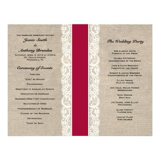 Rustic Lace and Burlap Red Ribbon Wedding Program Full Color Flyer