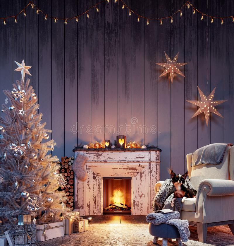 Christmas Interior With White Christmas Tree Decoration And Burning Fireplace 3d Ren White Christmas Tree Decorations Christmas Interiors White Christmas Tree Christmas tree living room background