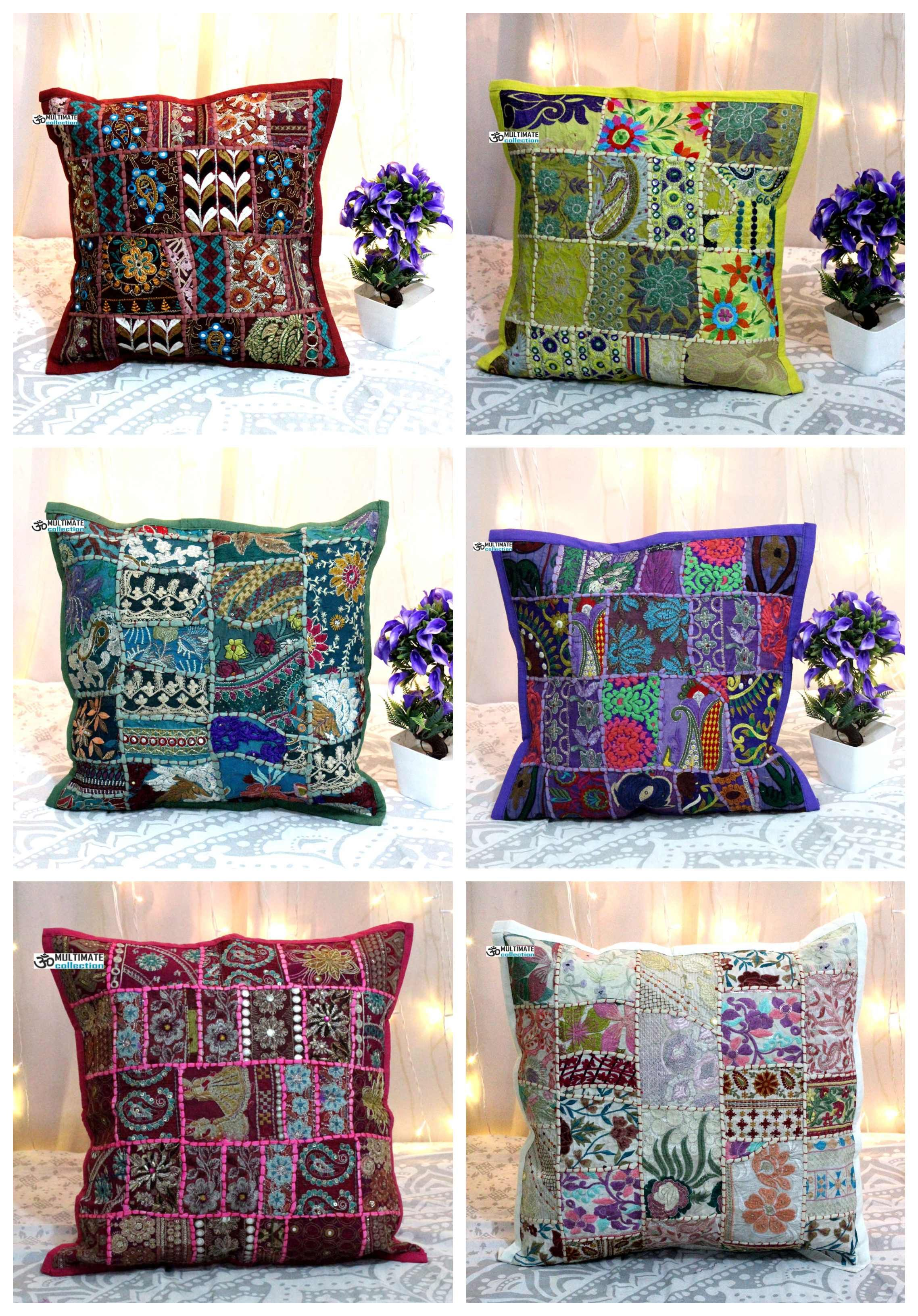 Patchwork Work And Embroidery Beautiful Unique Pillow Cover