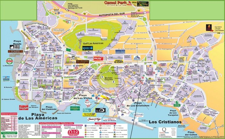 Los Cristianos and Playa de las Amricas hotel map Maps Pinterest