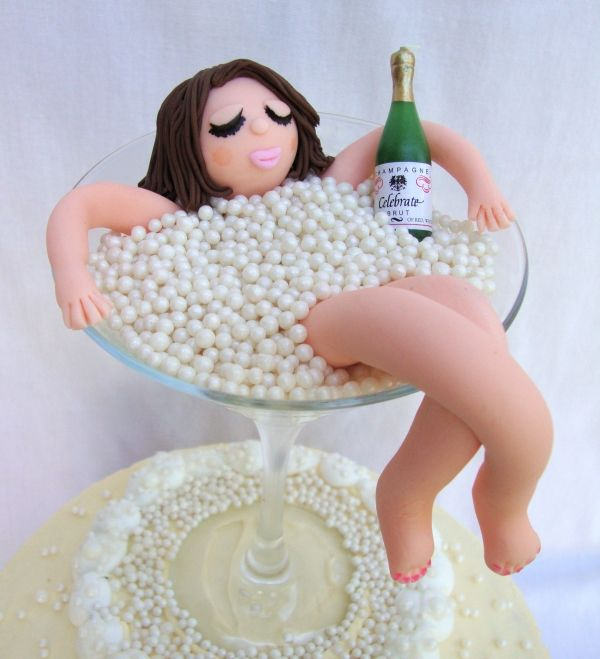 champagne bubble bath on top of cake