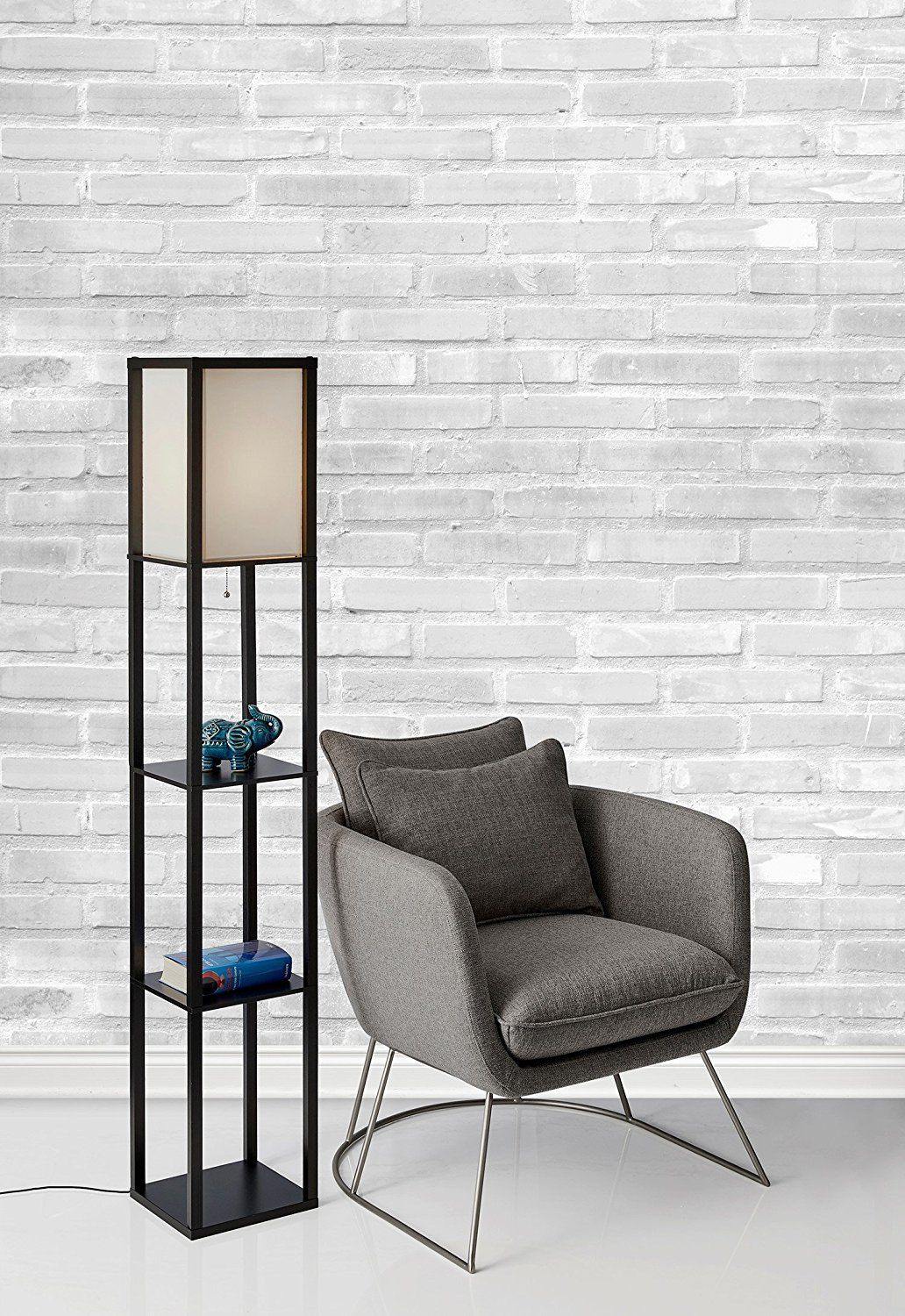 Adesso 3138 01 Wright 63 Quot Floor Lamp W 2 Storage Shelves Smart Switch Compatible Floor Lamp
