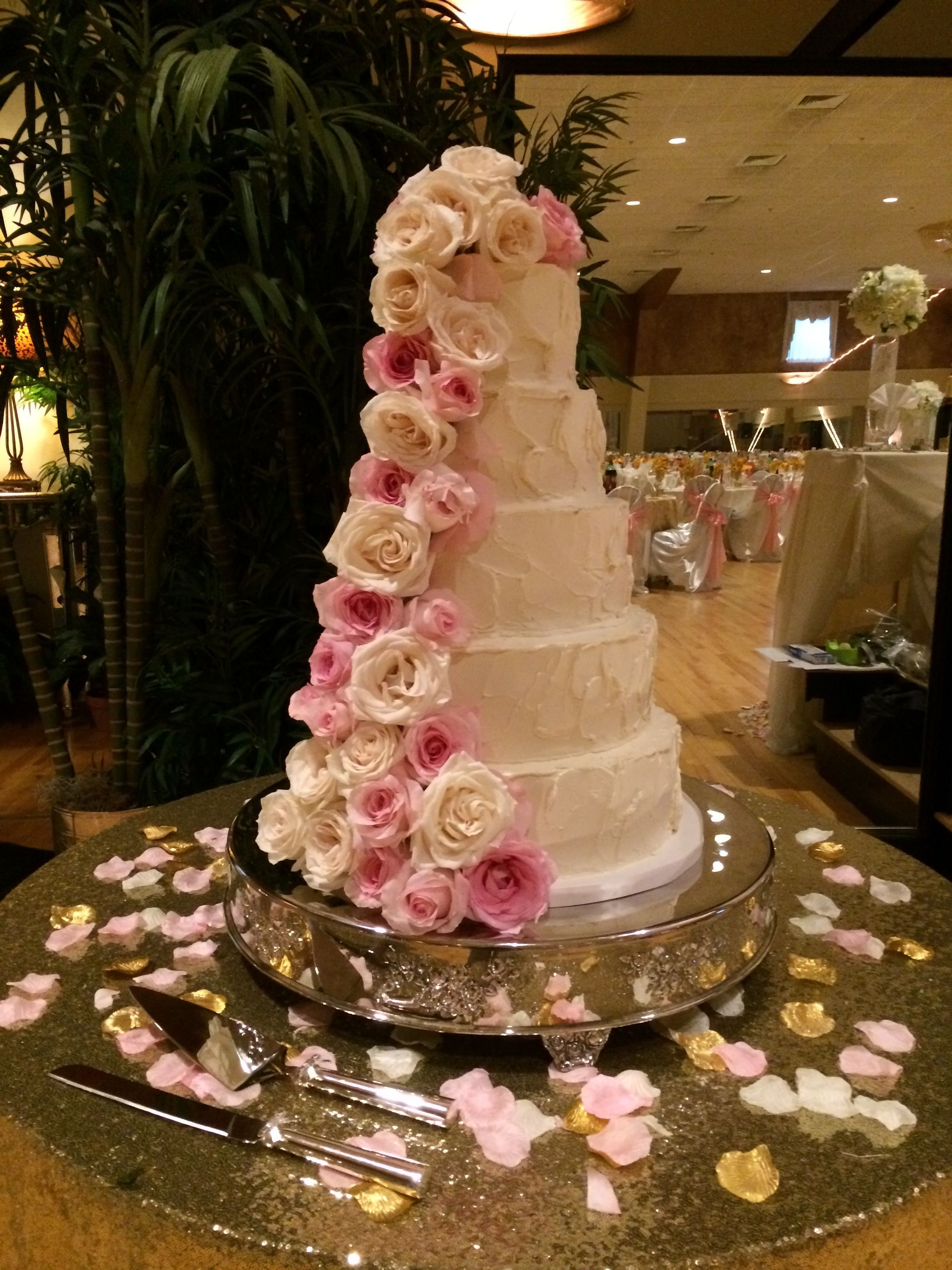 Five Tier Wedding Cake, Sculpted Buttercream With Fresh Pink Roses. At The  Asheville Event Center
