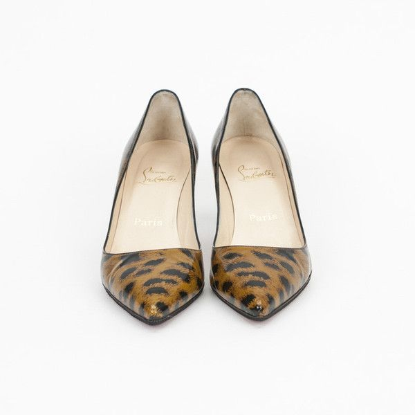 Pre-owned Christian Louboutin Leopard Print Kitten Heels ($225) ❤ liked on Polyvore featuring shoes, pumps, leopard shoes, red sole pumps, leopard pumps, leopard print shoes and red sole shoes