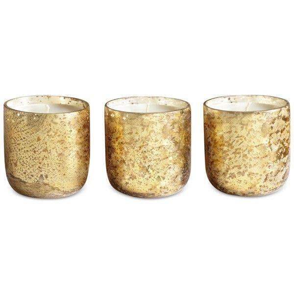 Illume Luxe Mini Sanded Mercury-Glass Candle Set ($32) ❤ liked on ...