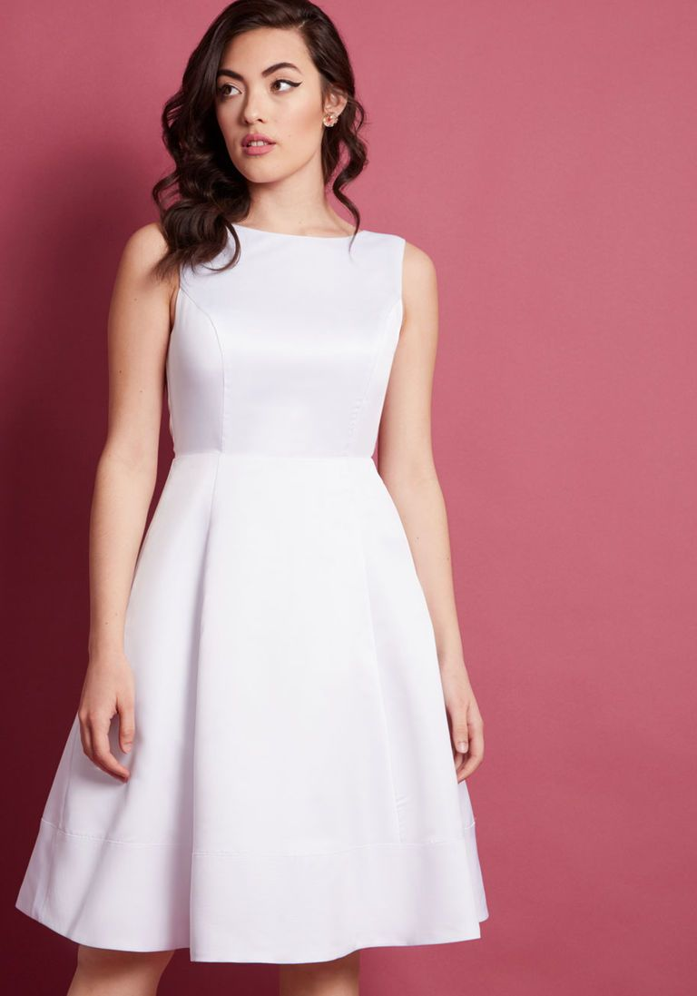 According To Etiquette Fit And Flare Dress In White Dresses To Wear To A Wedding White Dress White A Line Dress [ 1097 x 768 Pixel ]