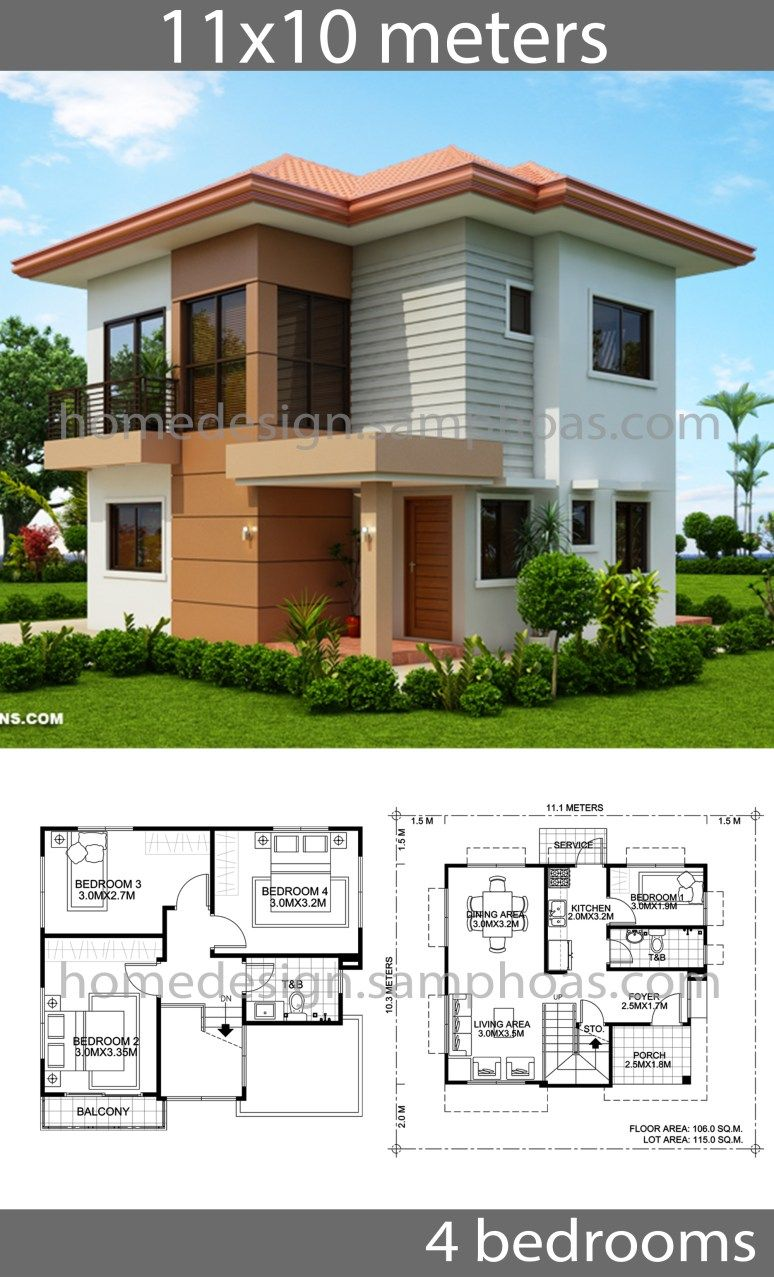 House Design Plans 10x11m With 4 Bedrooms House Idea In 2020 Affordable House Plans Modern Style House Plans Beautiful House Plans