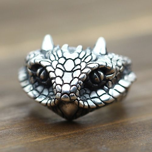 Mens Sterling Silver Cobra Wrap Ring