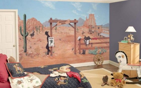 Great Kids Bedroom With Cowboy Murals Themes Best Cowboy Wall Murals Design Themes Western Baby Nurseries Baby Boy Nursery Themes Western Babies