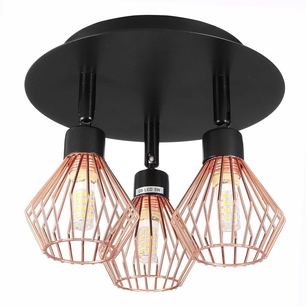 3 Way Ceiling Light Modern G9 Copper Cage Industrial Pendant Lamp Shade Spotlight Home Decorations In 2020 Ceiling Lights Pendant Lamp Shade Modern Ceiling Light